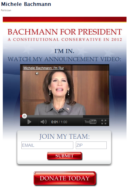 Michele Bachmann Facebook page